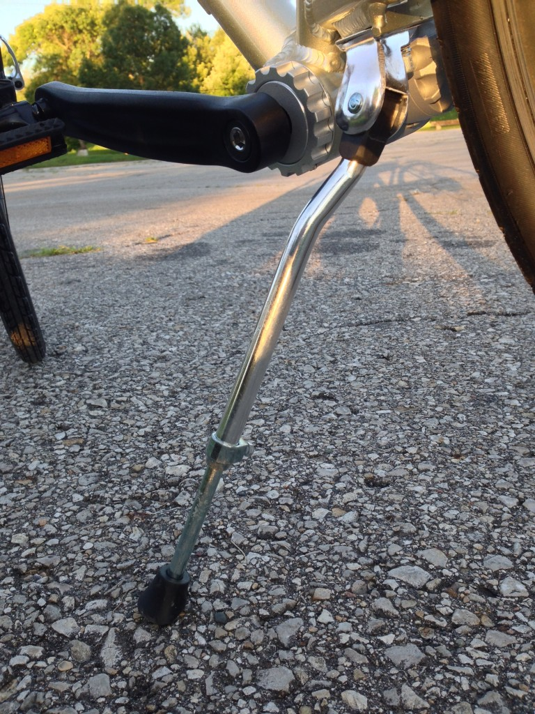 The kickstand is rather wobbly. It is adjustable, and we had to adjust both of ours to keep the bike from falling over.