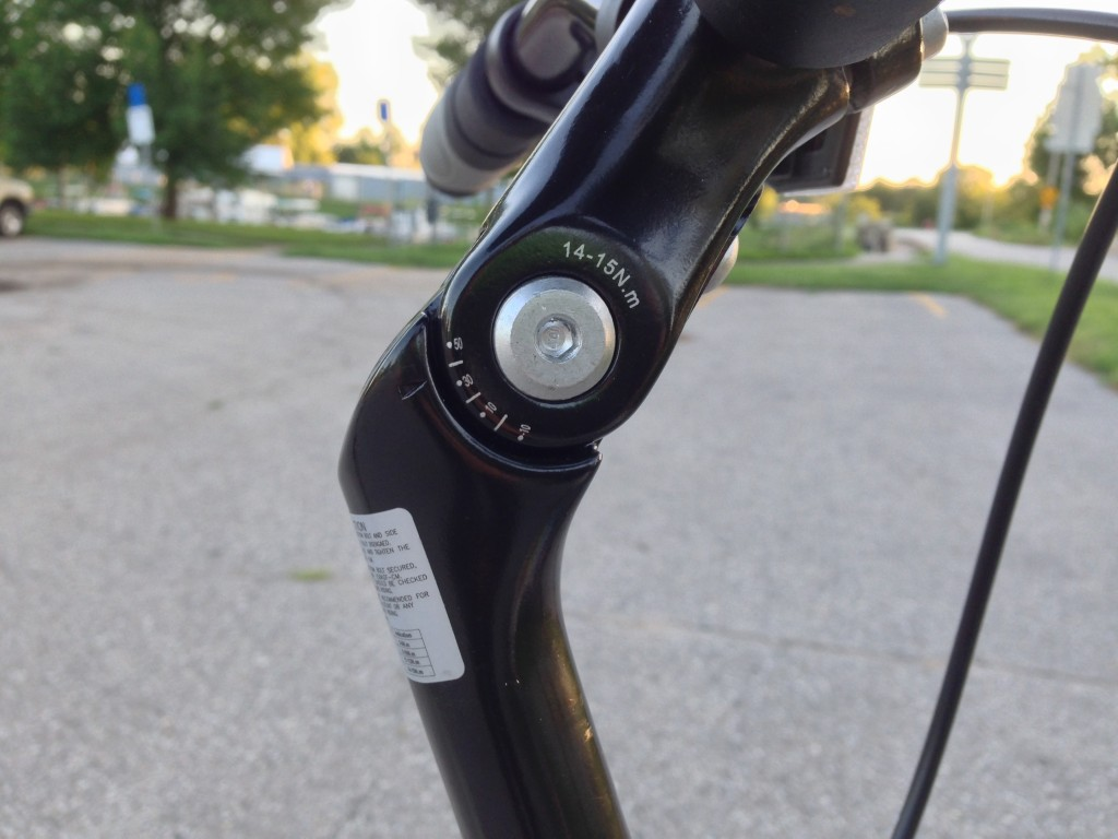 Handlebar angle adjustment.